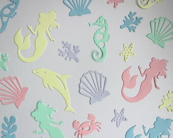 Mermaid confetti, party decorations for birthday parties, baby showers, christenings and celebrations, pink, blue, green, yellow and purple