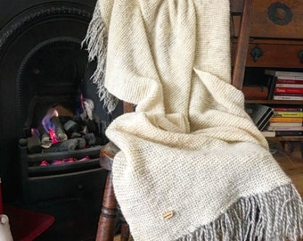 Wool blanket with fringes.Organic wool throw.Hand knitted.Rustic home decor. Cottage style home decor.Garter stich snuggle.Warm snuggle,wrap