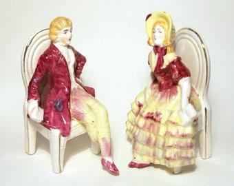 Haunted Regency Porcelain Couple Vintage Figurine Pair Sitting Curiosity Marked Foreign