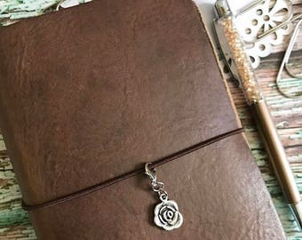 Silver Rose Planner Travelers Notebook Charm