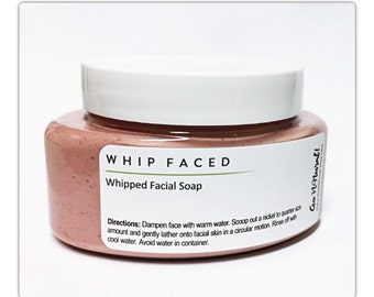 WHIP FACED: Whipped Facial Soap. Face Cleanser. Face Wash. Hibiscus + Fruits Cleanser. Whipped Soap for Face.