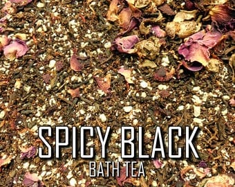 Spicy Black | 2-pk | Exotic Fair-Trade Black Tea/Dead Sea Salt/Epsom Aromatherapy Skin Treatment Bath Soak with Rose Saffron & Ground Spices