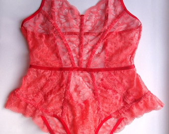 Lace bodysuit Red bodysuit Sheer bodysuit Bride See through lingerie Sexy lingerie Intimate lingerie Womens lace bodysuit Hot women bodysuit