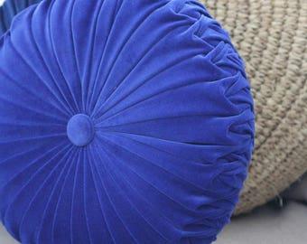 Cobalt Blue Velvet Vintage Style Round Cushion