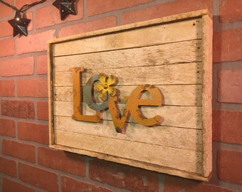 Rustic Love, sign, wall decor