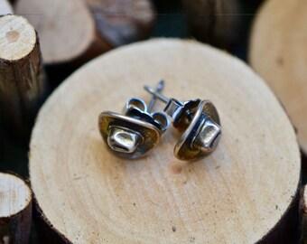 Vintage Sterling Silver Hat Stud Earrings, Sterling Silver Stud, Silver Stud Earrings, Girlfriend Gift, Cowboy Hat Earrings, Cowgirl Studs