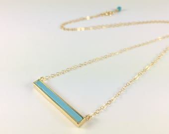 Turquoise Pendant Necklace Gold Turquoise Layering Necklace Turquoise Bar Necklace Delicate Gemstone Necklace Turquoise Jewelry Gold Boho