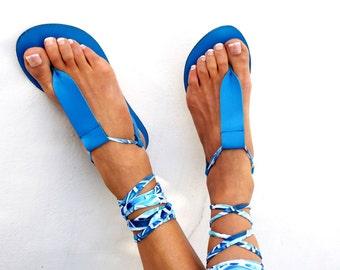 SUMMER SALES Gladiator Leather Sandals, blue lace up Sandals, Spartan Greek Sandal, barefoot, Genuine leather shoes