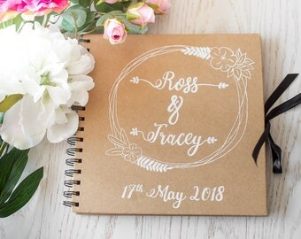 Wedding Guest Book - Personalised Chalkboard Rustic