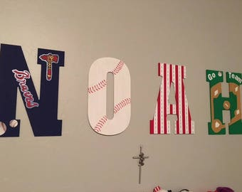 Baseball Wood Letters or Numbers, Personalized Name, Numbers, or Initials