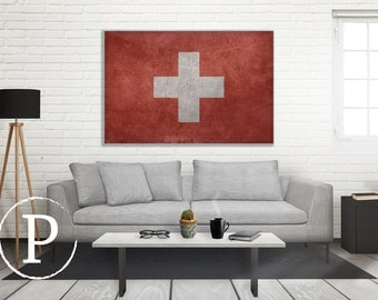 Switzerland Flag Canvas, Single Panel Large Canvas, 3 Panel Large Canvas, Switzerland Flag, Large Canvas Wall Art, Vintage Flag on Canvas
