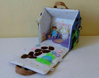 Fabric doll house bag. Portable dollhouse. Quiet book. Toy for girl. Soft dollhouse.