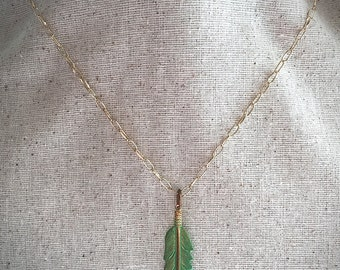 Brass Feather Pendant Necklace. Long Gold Chain Necklace. Long Necklace. Mint Green Feather Necklace. Gold Chain Necklace. Feather Necklace