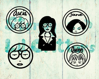 Daria Morgendorffer - Daria with Logo - Daria Face - Jane Lane - Quinn - Vinyl Car Decal - Bumper Sticker - Original sarcastic teen - MTV