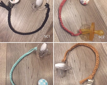Faux Suede Braided Soother Clips