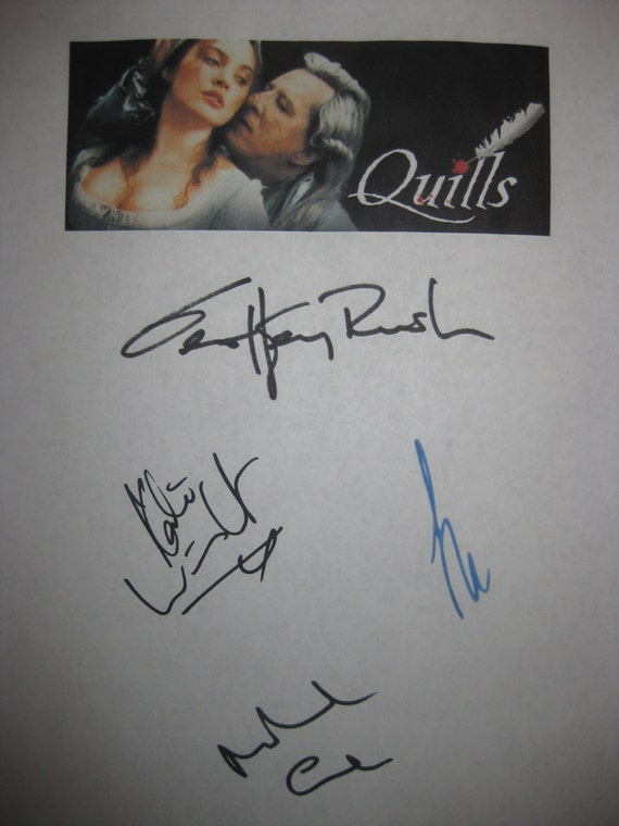 Quills Signed Film Movie Script Screenplay Autograph X4 Geoffrey Rush Kate Winslet Joaquin Phoenix Michael Caine signatures