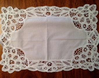 Two Vintage Embroidered Dresser Scarves