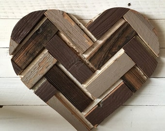 Reclaimed Wood Patchwork Heart 16""