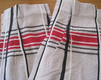 "Vintage DRAPE, One Pair (2 panels), Beige with Red, Black, White Grid Design, 43"" X 79"", Mid Century"