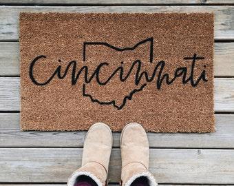 city + state welcome mat | hand painted, custom doormat | cute doormat | outdoor doormat | ohio | housewarming gift | wedding gift