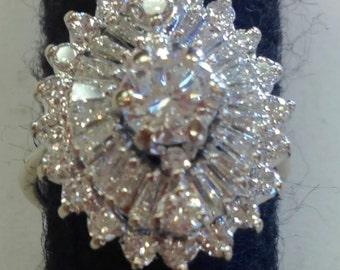 Stunning .62ct Natural diamond 18k white gold Ballerina Ring Size 4.75