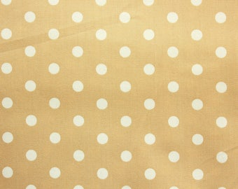 Polkadot Fabric, Cotton Fabric, Beige, Polka Medium Dots, Basic Essential, Quilting Dressmaking Sewing Patchwork Supplies, Wide, Half Metre