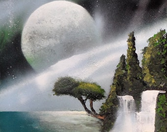 PAINTING trees on sea MIKYART 33x48 Art Paint Spray painting done with spray paint
