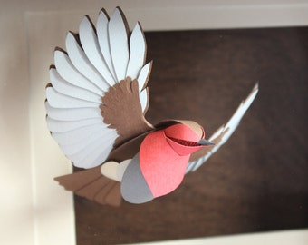 A Red Breasted Gentleman In Flight. Paper Robin Sculpture. 2017