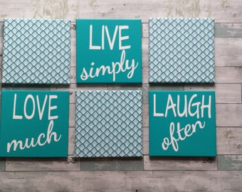 Live Love Laugh Set of Six Wall Hangings~Aqua Wall Hangings~Set of Six Canvas Wall Decor Ten Inch Squares~Live Simply~Love Much~Laugh Often~