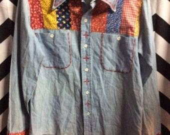 Chambray Denim Shirt Bandana Patchwork & Stitching