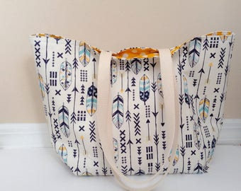Feather Beach Tote Boho Beach Tote Large Tote Summer Tote Everyday tote Market bag School Bag Work tote Arrow Tote Bag Gift for Woman