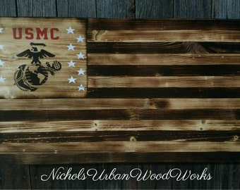 Marine corps rustic concealment flag American Flag USMC hidden gun flag American flag rustic gun concealment flag gun cabinet wood flag gun
