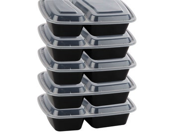 5 Pack of 2 Compartment Meal Prep Containers, 30oz, BPA-Free, Microwaveable, Dishwasher Safe