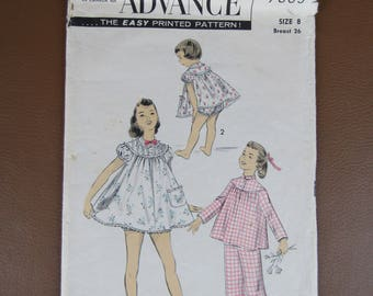 1950s Advance #7803 Pattern for Girl's Size 8 Pajamas and Shortie Set