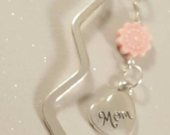 decorative mom bookmark in silver,pink,pink flower,books,reading,heart,bookmarks