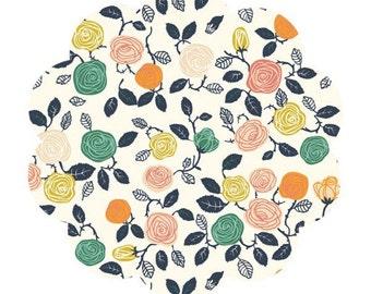 Hidden garden print fabric. Cream roses print poplin. Floral quilt fabric. Baby fabric. DIY sewing fabric. Organic apparel cotton fabric.