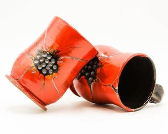 Red Poppy Mug | Poppy Mug | Flower Mug | Pottery | Ceramic | Stoneware | Pottery Mug | Ceramic Mug | Stoneware Mug | Handmade Pottery