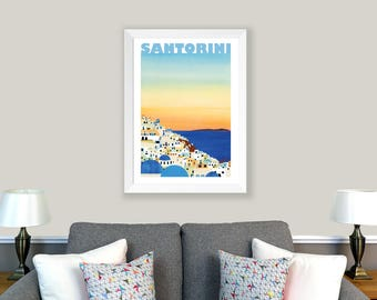 POSTER Santorini, Greece. Print of original collage. Sunset, Santorini poster, home decor, living room decor, office decor, wall decor.