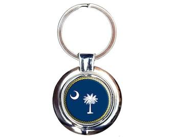 South Carolina State Flag Keychain Key Ring