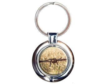 Rusty Barbed Wire Keychain Key Ring