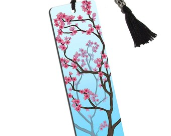 Cheery Cherry Blossoms Printed Bookmark With Tassel
