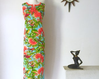 Early 1960s Hawaiian maxi wiggle dress tropical bird print by Elsie Krassas