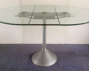 RONALD SCHMITT Glass Top Drop leaf Dining Table