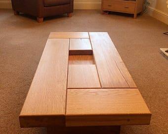 Oak coffee table, dark wood coffee table, coffee table, sleeper coffee table, sleeper table. sleeper coffee table