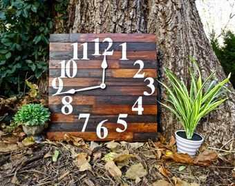 Large Rustic Wall Clock. Wood Clock. Oversized Wall Clock. Wall Clock. Square Clock. Hanging Rustic Clock. Unique Wall Clock. Rustic Clock.