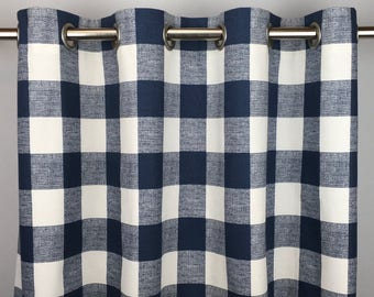 Navy Blue Buffalo Check Curtains - FREE SHIPPING- Blue Gingham Drapes - Navy Plaid Drapery - Rod Pocket- Grommets - 24 50 x 84 96 108 120