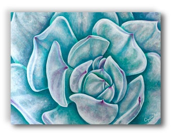 12 in. x 16 in. Giclée, Canvas Print, Acrylic Painting, Contemporary Art, Floral, Succulent Plant, Turquoise