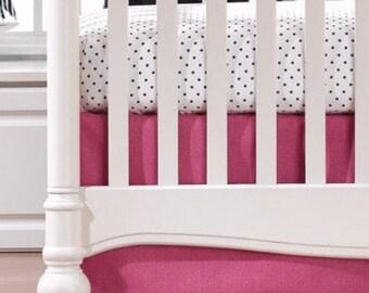 "Hot Pink Crib Skirt 17"" Drop"