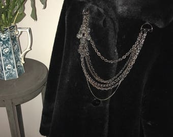 Vintage Black Faux Fur Black Swing Cost. Black Faux Fur Coat.