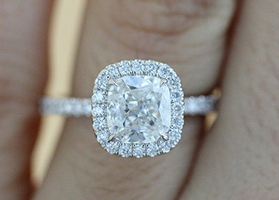 Cushion Cut Diamond Engagement Ring with Diamond Halo